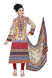 BalajiWomen's Cotton Unstitched dress material(1005-multicolor-free size)