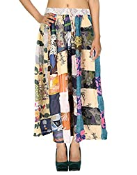 Beach Wear Casual Skirt Cotton Cream Floral Patchwork Skirts By Rajrang