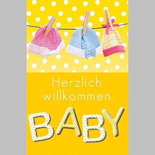 Niedliche Baby Klappkarte für Glückwünsche zur Geburt, SET MIT UMSCHLAG, B6 - PORTOFREI möglich, personalisierbar, Hochformat 11,5x17,5cm mit Babymotiv veredelt