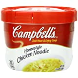 Campbell's Homestyle Chicken Noodle Soup, 15.4 Ounce Microwavable Bowls (Pack of 8)