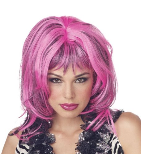 Wig Hard Rockin Witch Black Pink Costume Item