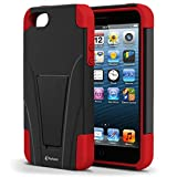 Vakoo BX-HQ1J-EO7L02 iPhone 5S/5 Case Shield Series Dual Layer Defender Shockproof Drop Proof High Impact Hybrid Armor Silicone Rugged Case for Apple iPhone SE 5 5s with Kickstand - Red/Black