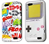 HTC One V 2x COMIC HAHA + GAMEBOY Retro protection bumper Hard Case Cover Case thematys®