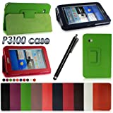 LENOGE New PU Leather Smart Cover Flip Case With Stand for Samsung Galaxy Tab 2 7.0 P3100 P3110 Tablet PC 16G 32G WIFI 3G (Dark Blue Case + Stylus(Style 2))