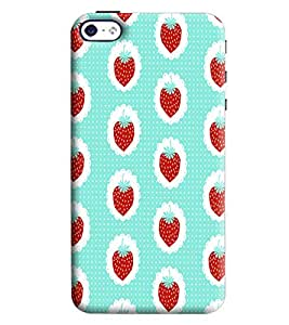 Blue Throat Red Strawberry Printed Designer Back Cover/Case For Apple iPhone 4