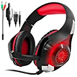 Gaming Headset for PS4 PSP Xbox one Tablet iPhone Ipad Samsung Smartphone, SENHAI Led Light GM-1 Headphone with Adapter Cable for PC (Black+Red)