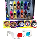 Body Paint Crayons Tatoo Face Paint Crayons Tattoo Paint 12 Pcs + 3D Glass SITATOO02