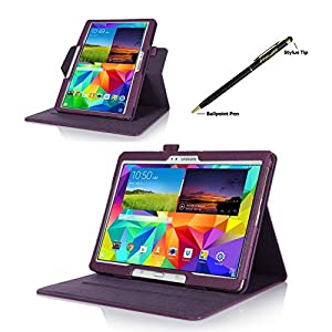 ProCase Samsung Galaxy Tab S 10.5 Dual View Case (horizontal and vertical display) - Rotating Cover Case with Stand exclusive for 2014 Samsung Galaxy Tab S (10.5 inch, SM-T800) Tablet (Purple) by ProCase