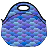 Snoogg Blue Waves In Japanese Style Travel Outdoor Carry Lunch Bag Picnic Tote Box Container Zip Out Removable Carry Lunchbox Handle Tote Lunch Bag Food Bag For School Work Office