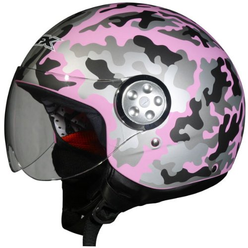 AFX Camo Women's FX-42A Pilot Harley Motorcycle Helmet - Color: Flat Pink, Size: X-Large