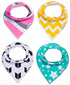 Baby Bandana Drool Bibs Cotton New Baby Gift Set 4 Pieces Cute Baby Bibs