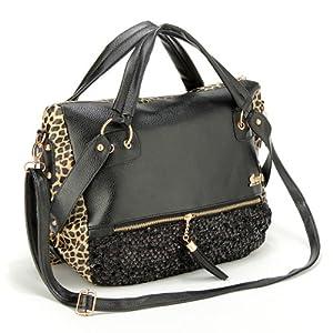 sac a main bandouliere epaule leopard noir cuir sequin porte femme mode handbag. Black Bedroom Furniture Sets. Home Design Ideas