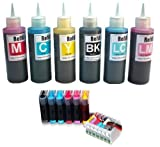 COMBO PACK - CISS T0807 Continuous Ink Supply System with 6 x 100ml Bulk Ink Refills for Epson Stylus Photo P50, PX650, PX660, PX700W, PX710W, PX720WD, PX730WD, PX800FW, PX810FW, PX820FWD, PX830FWD, R265, R285, R360, RX560, RX585, RX685 Printers