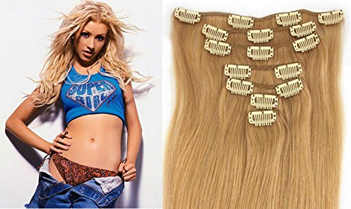 """Echthaar Haarverdichtung Clip in Remy Haar Extensions Erganzungsset 15""""/70g/7pcs/set #27-rotblond"""