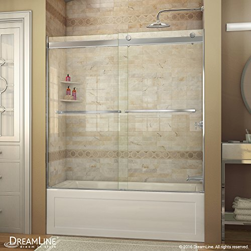 DreamLine Essence 56-60 in. Width, Frameless Bypass Sliding Tub Door, 5/16