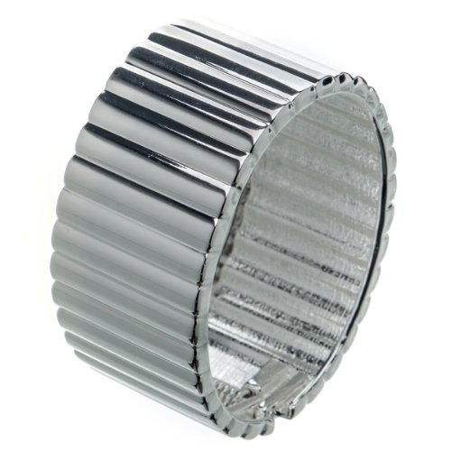 Suvelle Fashion Clasp Hinged Silvertone Design Bangle