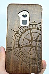 HTC ONE Max Wood Case - Walnut Compass - Premium Quality Natural Wooden Case for your Smartphone and Tablet - by VolksRose®