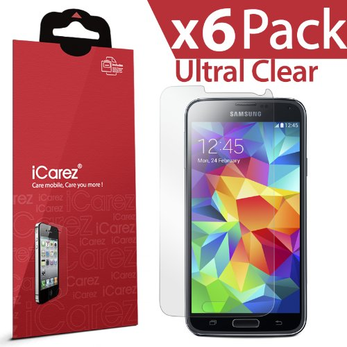 iCarez® [HD Clear] Highest Quality Premium Screen Protector For Samsung Galaxy S5 High Definition Ultra Clear & Anti Bacterial & Anti-Oil & Anti Scratch & Bubble free & Reduce Fingerprint & No Rainbow & Washable Screen Protector **PET Film Made in Japan*