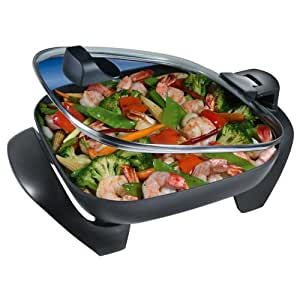 Oster SH12 12-Inch Skillet with Hinged Lid, Black