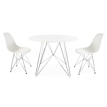 Eames Style Round Eiffel Table & 2 DSR Chairs - Grey