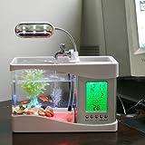 Lampe écran Aquarium POISSON AQUARIUM Fish Tank pompe USB LED LCD affichage du bureau horloge, calendrier, alarme, température
