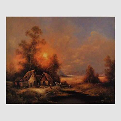 Kunstdruck idyllische Landschaft Bauernhaus Pferd Hühner Hunde im Morgengrauen am Waldrand gemalt Nr.2 40 x 50 cm, Poster, Bild, Cliprahmen optional, hier ohne Rahmen
