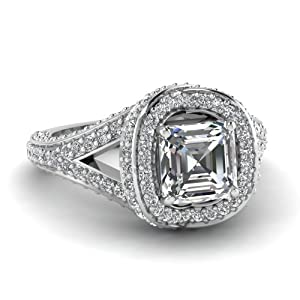 Tantalizing 2 Ct Pave Set Asscher Cut:Ideal Diamond Engagement Ring I-Color GIA Certificate # 5166162010