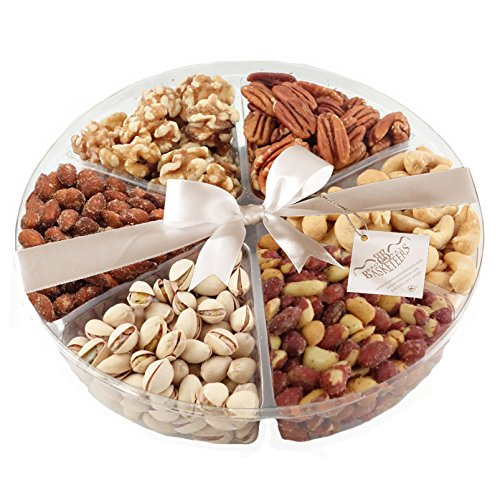 Broadway Basketeer's Gourmet Food Fresh Nuts Tray 6 Section Assortment Round Holiday Gift Basket (Shiva Gift Baskets compare prices)