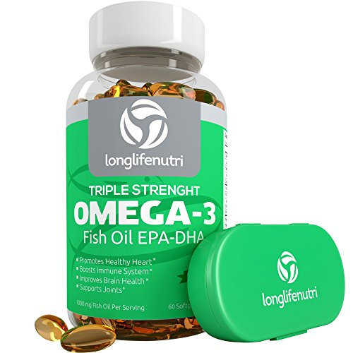 Omega 3 fish oil pills 60 triple strength essential for High dha fish oil