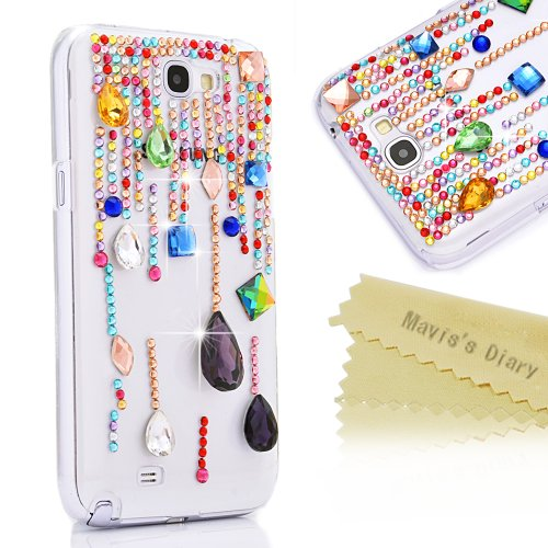 Mavis'S Diary 3D Handmade Colorful Rhinestone Crystal Tears Design Diamond Case Clear Cover For Samsung Galaxy Note 2 N7100 With Soft Cleaning Cloth