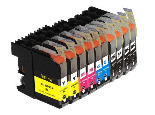 TS 10PK Compatible Ink Cartridges for Brother LC103 LC-103 (4 Black, 2 Yellow, 2 Magenta, 2 Cyan) for Multifunction Printers MFC-J4310DW MFC-J4410DW MFC-J4510DW MFC-J4610DW MFC-J4710 MFC-J470DW MFC-J475DW MFC-J870DW MFC-J875DW