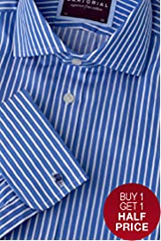 "2"" Longer Luxury Sartorial Pure Cotton Striped Shirt"