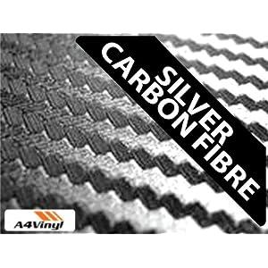 Silver Carbon Fibre Vinyl Wrap A4 297x210mm 10x Self-adhesive Fiber Sheets