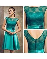 COOLER-Robe Femme courte-vert classique-Satin et dentelle-nul du dos-soirée/mariage/communion-sur mesure