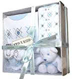 Newborn Baby Gift Set with Bodysuit, Bib, Toy, Socks in a Gift Box. 0 - 3 Months. (Blue)