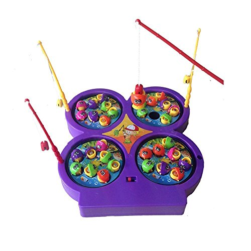 Mini Giochi Magnetico Gioco della Pesca Pesci con 4 canna e 4 Piastra Giocattoli Musicali Regalo Ideale per Bambini da 4 Anni