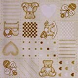 Baby Cream Polycotton Fabric with Patchwork Nursery ABC Print Per Metre