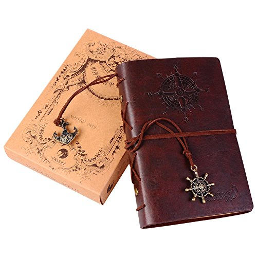 Valery®classic Leather Notebook-vintage Diary &Journal -Blank&lined Refillable Loose Leaf Pages-mediterranean &Middle Ages Design-men&women Daily Use Gift (Brown)