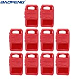 10pcs Handheld Soft Rubber Case Portable Silicone Cover Shell for Baofeng UV-5R Series Two Way Radios Walkie Talkie (Red) (Color: Red)
