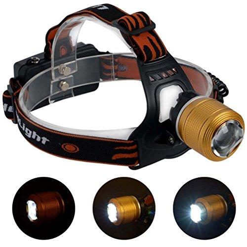 Canwelum - Linterna frontal LED Cree recargable corriendo, linterna de cabeza LED potente cámping, faro LED Cree Ultra-brillante (Un conjunto de linterna frontal LED, 2 x Baterías litio recargable 18650 y 1 x Cargador Euro)