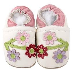Kidzuu Soft Sole White Shoes 3 Cherry Blossoms 12-18M