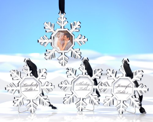 Snowflake Place Card Holders Snowflake Ornament Frames (Set of 4) (Snowflake Picture Frame compare prices)