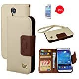 Galaxy S4 Case,By HiLDA,Wallet Case,PU Leather Case,Credit Card Holder,Flip Cover Skin,Case for Samsung Galaxy i9500[Brown]