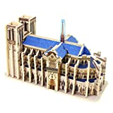 Happy Cherry 3D Puzzle Madera DIY Arquitectura Modelo Juguete Educativo Piezas Construcción Juego para Niño Niña - París Catedral Notre Dame