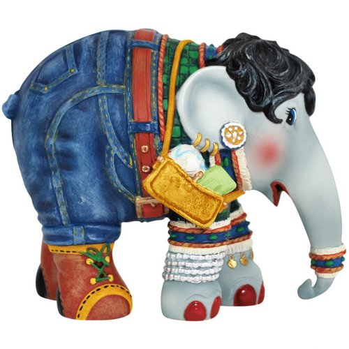 Westland Giftware Elephant Parade Figurine, 3.75-Inch High, Shopping Queen