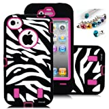 Cocoz® Deluxe Printed Hard Soft High Impact Hybrid R Case Combo for Apple Iphone 4/4s , (Iphone 4/4s, Zebra Hot Pink)--0003