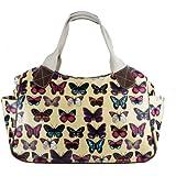 Miss Lulu Women's Girls Oilcloth Flower Owl Polka Dot Butterfly Scottie Dog Day Tote Shopper Travel Hand Bag