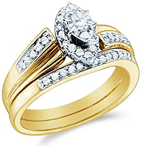 Size - 10 - 10k Yellow Gold Diamond Ladies Womens Bridal Engagement Ring with Matching Wedding Band Two 2 Ring Set Solitaire with Side Stones Channel Pave Set Emerald Shape Center Marquise and Round Cut Diamond Ring 3mm (1/3 cttw)