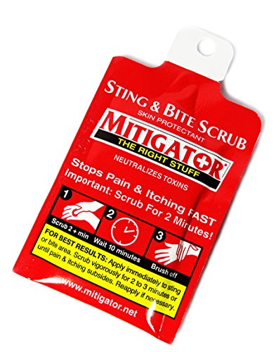Mitigator Sting & Bite Scrub Treatment Skin Protectant Relieves Itching Fast!, 1/8 oz Packet (Pack of 12)
