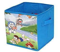 PrettyKrafts Doraemon Printed Multi-Utility Bag - Storage Box - Toys Organizer with Lid - Blue - Small Sized